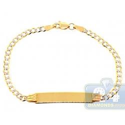 10K Yellow Gold Cuban Diamond Cut Link Kids ID Bracelet 6 Inches
