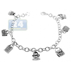 925 Sterling Silver Hand Bags Charm Womens Bracelet 7 3/4 Inches