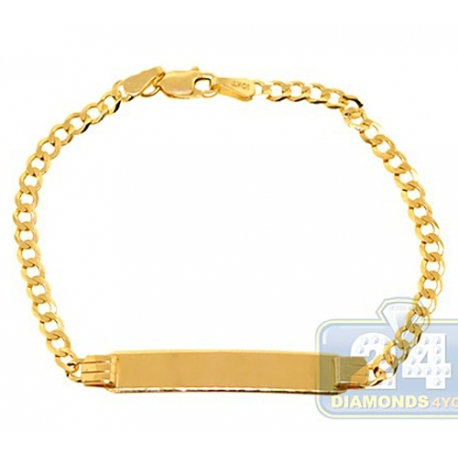 Solid 10K Yellow Gold Cuban Link Kids Baby ID Bracelet 3mm 6""