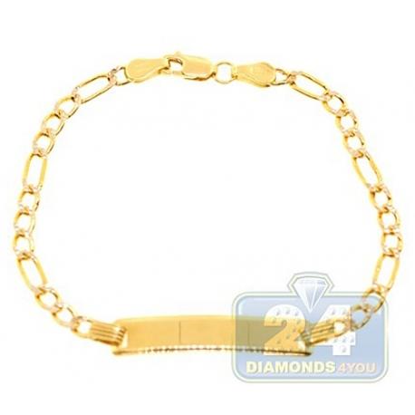 "Solid 10K Yellow Gold Figaro Diamond Cut Kids Baby ID Bracelet 6"""