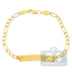 10K Yellow Gold Figaro Diamond Cut Kids ID Bracelet 6 Inches