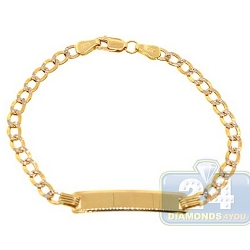 10K Yellow Gold Curb Diamond Cut Link Kids ID Bracelet 6 Inches