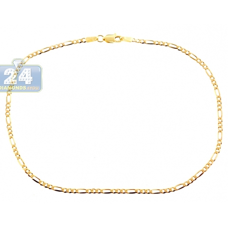 """Solid 10K Yellow Gold Figaro Link Womens Ankle Bracelet 2mm 10"""""""