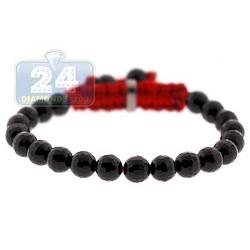 Sterling Silver Grooved Onyx Bead Kids Baby Adjustable Bracelet