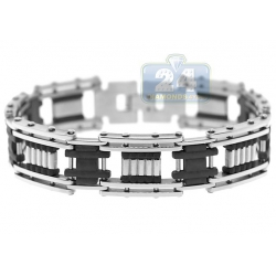 Steel Black Rubber Bicycle Link Mens Bracelet 17 mm 9 Inches