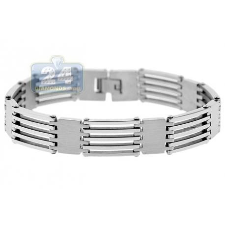 "Solid Stainless Steel Lined Block Link Mens Bracelet 13mm 9"""