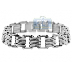 Solid Stainless Steel Bicycle Link Mens Wrist Bracelet 13mm 8.5""