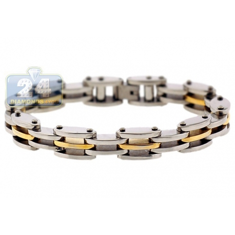 Two Tone Stainless Steel Bicycle Link Mens Bracelet 10mm 8.5""