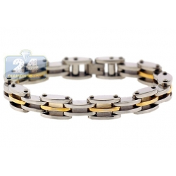 Two Tone Steel Bicycle Link Mens Bracelet 10 mm 8 1/2 Inches