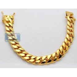 10K Yellow Gold Miami Cuban Link Mens Bracelet 13 mm 9 Inches