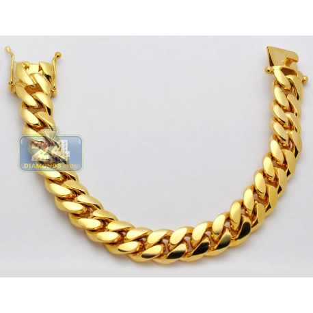 Solid 10K Yellow Gold Miami Cuban Link Mens Bracelet 13mm 9""