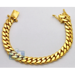Solid 10K Yellow Gold Miami Cuban Link Mens Bracelet 11mm 9""