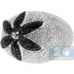 14K White Gold 6.05 ct Black Diamond Flower Womens Dome Ring