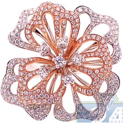 18K Two Tone Gold 2.90 ct Diamond Womens Flower Ring