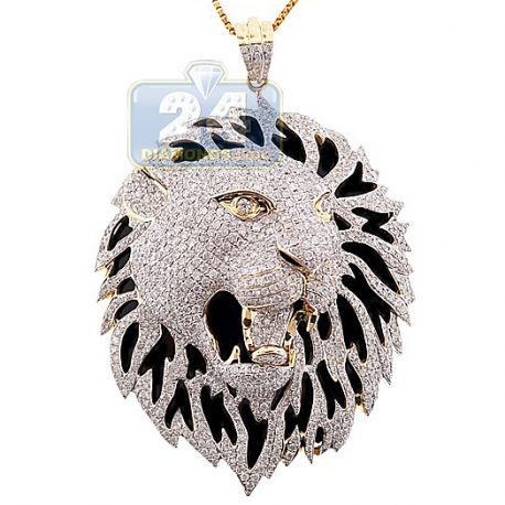 Mens Diamond Tiger Lion Head Pendant 14K Yellow Gold 5.16 ct