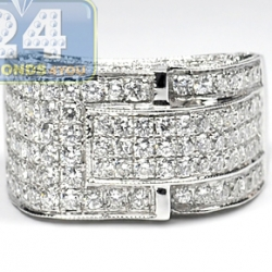 14K White Gold 7.25 ct Diamond Mens High Set Signet Ring