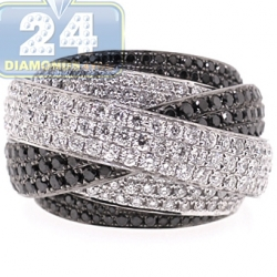 18K White Gold 4.25 ct Black Diamond Criss Cross Ring