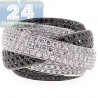 Womens Black Diamond Criss Cross Ring 18K White Gold 4.25 ct