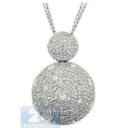 14K White Gold 6.77 ct Diamond Cluster Womens Round Pendant