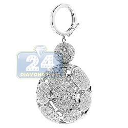 14K White Gold 7.50 ct Diamond 3D Ball Key Ring Pendant