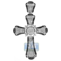 14K White Gold 5.15 ct Diamond Mens Fancy Cross Pendant