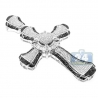 Mens Diamond Fancy Religious Cross Pendant 14K White Gold 5.15 ct