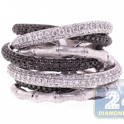 18K White Gold 4.30 ct Black Diamond Womens Bamboo Ring