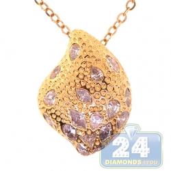 14K Yellow Gold 5.10 ct Diamond Womens Leaf Shape Pendant