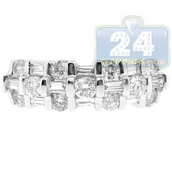 14K White Gold 0.92 ct Baguette Round Diamond Womens Ring