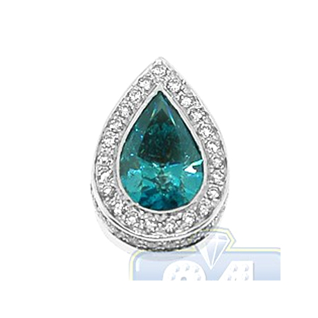 Womens Bezel Set Blue Diamond Drop Halo Pendant 14K White Gold