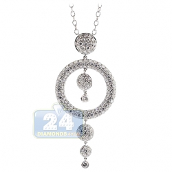 18K White Gold 3.21 ct Diamond Drop Circle Pendant Necklace