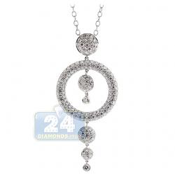 18K White Gold 3.21 ct Diamond Drop Circle Pendant Necklace