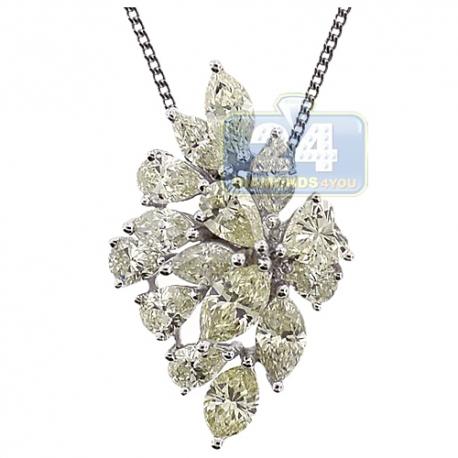 Womens Mixed Diamond Cluster Pendant 14K White Gold 4.44 ct
