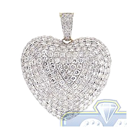 Womens Iced Out Diamond Heart Pendant 14K Yellow Gold 6.32 ct