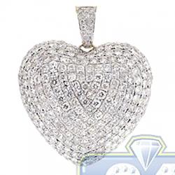 14K Yellow Gold 6.32 ct Diamond Womens Heart Pendant