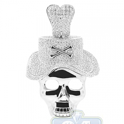 14K White Gold Skull 4.73 ct Diamond Hat Skull Mens Pendant