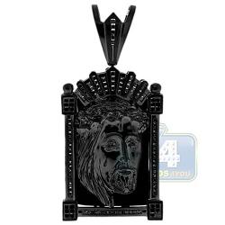 """Mens Black Diamond Jesus Christ Face Tag Pendant 14K Gold 3.25"""""""