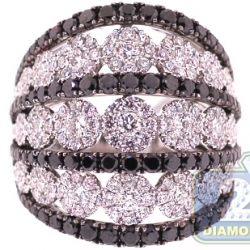 18K White Gold 4.07 ct Black Diamond Cluster Wide Band Ring