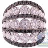 18K White Gold 4.07 ct Black Diamond Cluster Womens Vintage Band Ring