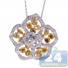 Womens Fancy Yellow Diamond Flower Pendant 14K White Gold 4.32ct