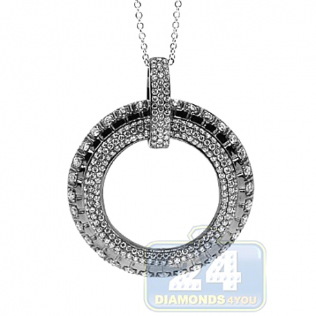 Womens Diamond Open Circle of Love Pendant 18K Black Gold 1.41ct