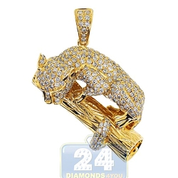 14K Yellow Gold 4.30 ct Diamond Panther Womens Pendant