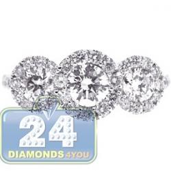 14K White Gold 2.19 ct 3 Stone Diamond Halo Engagement Ring