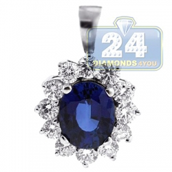 18K White Gold 3.78 ct Diamond Blue Sapphire Womens Pendant