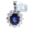 Womens Diamond Blue Sapphire Drop Pendant 18K White Gold 3.78ct