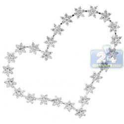 18K White Gold 2.66 ct Diamond Station Open Heart Pendant