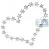Womens Diamond Station Open Heart Pendant 18K White Gold 2.66ct