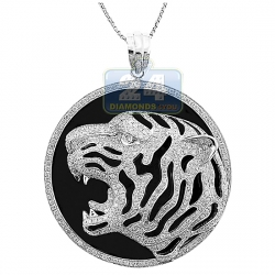 14K White Gold 2.22 ct Diamond Tiger Head Mens Pendant