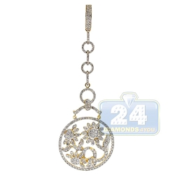 14K Yellow Gold 3.06 ct Diamond Flower Chandelier Pendant