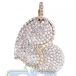 14K Yellow Gold 3.20 ct Diamond Pave Womens Heart Pendant